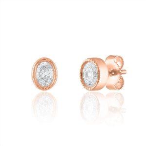 oval rose gold bezel milgrain stud earrings