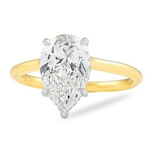 2.50 ct Pear Shape Diamond Yellow Gold Solitaire Ring