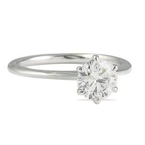 1.00 Carat Round Diamond Knife-Edge Solitaire Engagement Ring