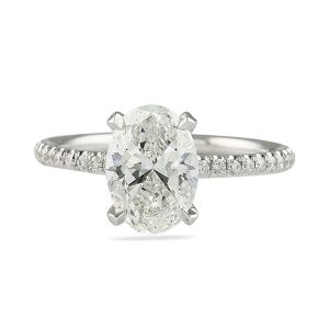 1.70 Carat Oval Diamond Pave-Prong Engagement Ring
