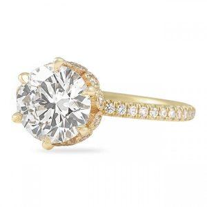 2.01 ct Round Diamond Yellow Gold Bezel Wrap Engagement Ring