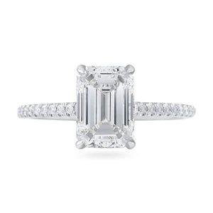 1.72 carat Emerald Cut Diamond Super Slim Band Engagement Ring