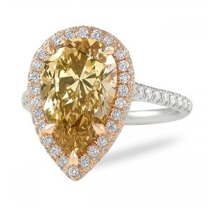 brown yellow pear diamond rose gold halo design engagement ring