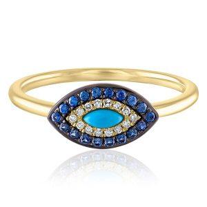 evil eye sapphire ring yellow gold
