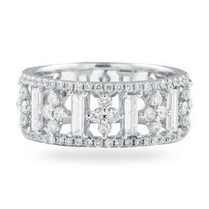 round diamond baguette eternity band white gold