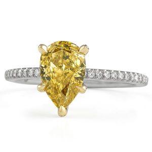 orange yellow pear shape diamond engagement ring