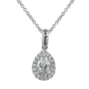 pear shape mini diamond halo pendant