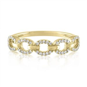 pave chain link diamond ring yellow gold