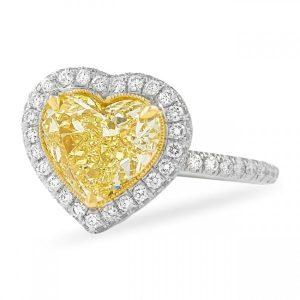 heart shape yellow diamond engagement ring