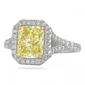 Yellow Radiant Cut Diamond Halo Engagement Ring