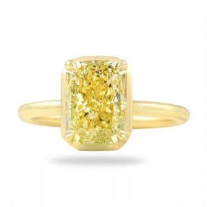 Fancy Yellow Radiant Cut Diamond Solitaire Ring