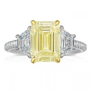 Yellow Diamond Emerald Cut Three-Stone Ring
