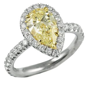 Pear Shape Yellow Diamond Halo Ring