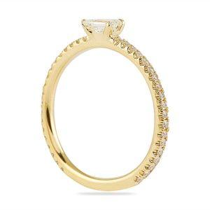 yellow gold super stackable emerald cut wedding band