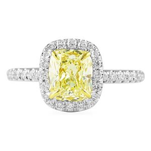 1.55 ct Cushion Yellow Diamond Engagement Ring