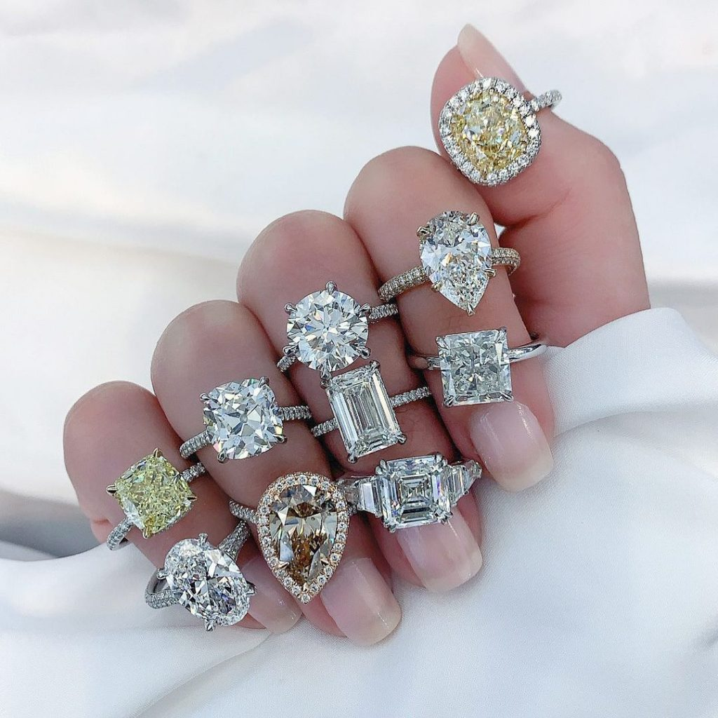 various engagement ring shape on ladies hand