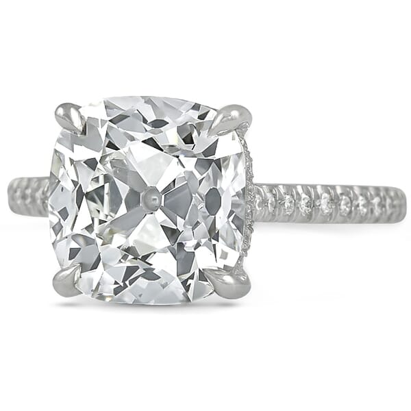4.39 ct Antique Cushion shape Diamond Engagement Ring