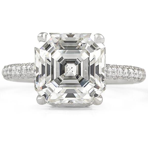 Asscher Cut Moissanite Three Row Band Engagement Ring