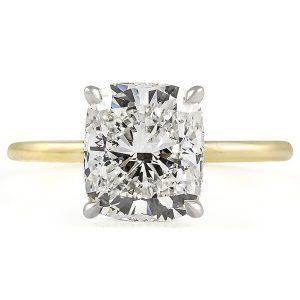 3 Carat Cushion Cut Diamond Signature Wrap Solitaire Ring