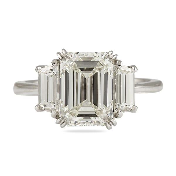 3.02 Carat Emerald Cut Diamond Three-Stone Engagement Ring