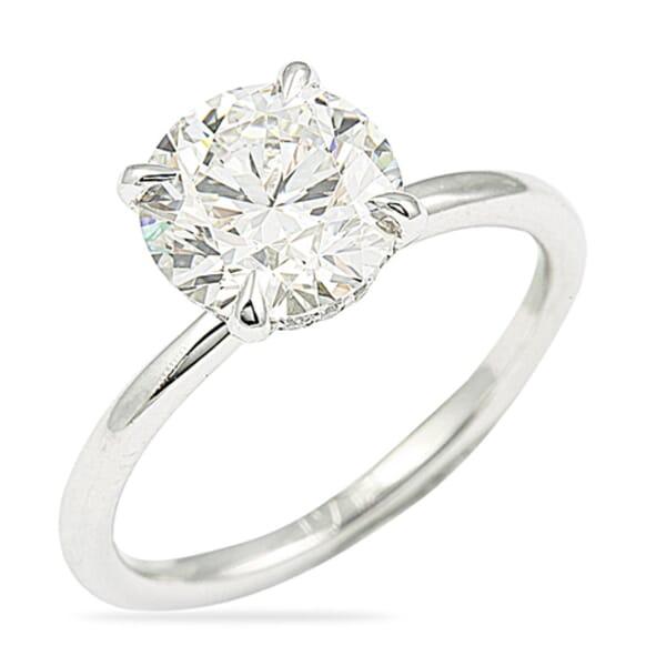 2.21 Carat Round shape Diamond Platinum Solitaire Engagement Ring