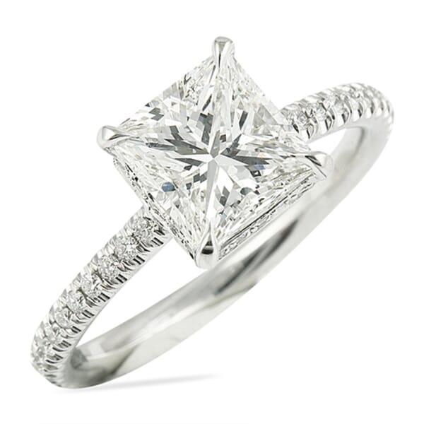 1.60 Carat Princess Cut Diamond Invisible Gallery™ Engagement Ring