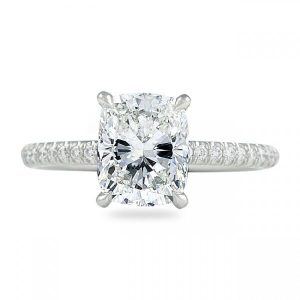 1.90 ct Cushion Cut Diamond Pave Engagement Ring