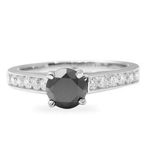 1.30 ct Round Shape Black Diamond 18K White Gold Engagement Ring