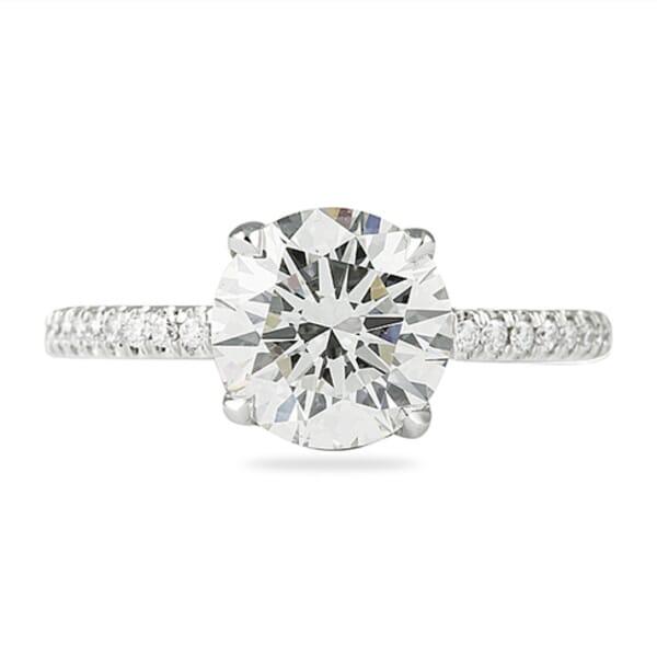 2.16 Carat Round Diamond Signature Wrap Engagement Ring, F Color