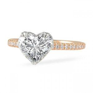 1.60 Carat Heart Shape Diamond Two-Tone Signature Wrap Ring
