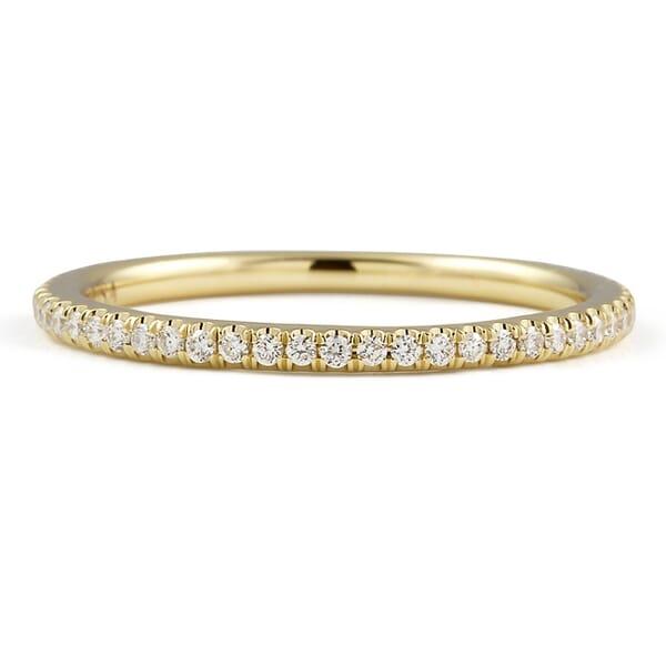 Super Slim Pave Wedding Band yellow gold