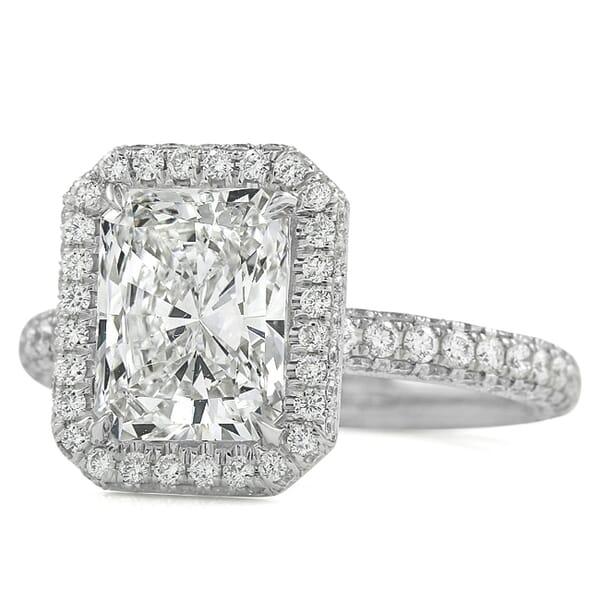 2.62 carat Radiant Cut Diamond Halo Three Row Engagement Ring