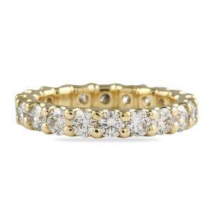 2.45 Ct Round Diamond Yellow Gold Eternity U-shape Band