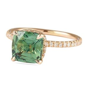 Green Sapphire Signature Wrap Rose Gold Engagement Ring