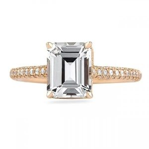 Emerald Cut White Sapphire Rose Gold Engagement Ring