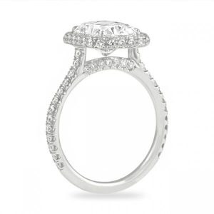 2.32 Carat Radiant Cut Diamond Double Edge Halo Ring
