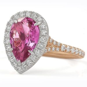 Pink Sapphire Pear Shape Halo Engagement Ring