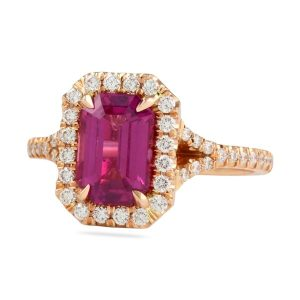 Pink Sapphire Emerald Cut Split Band Halo Ring