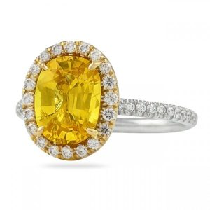 2.55 ct Oval Yellow Sapphire and Diamond Ring