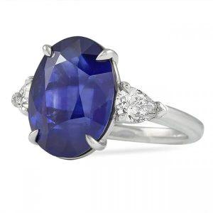 7.75 Carat Oval Sapphire And Diamond Three-Stone Ring