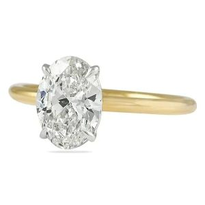 1.80 Carat Oval Diamond Two-Tone Solitaire Engagement Ring